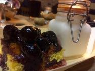 The dessert: Almond cake with Crema Catalina ice cream, custard caramel and a cherry compote