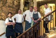 Olivier Certain, Mark Dodson, Paul Berry, Donna Berry and Liam Finnegan (Headchef at The Castle)