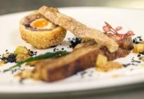 Olivier Certain's starter of Little Oak Farm pork belly