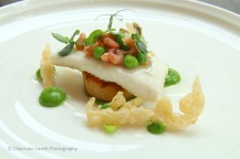 Thomas Carr: Plaice , peas and brown shrimp dressing , beer batter.